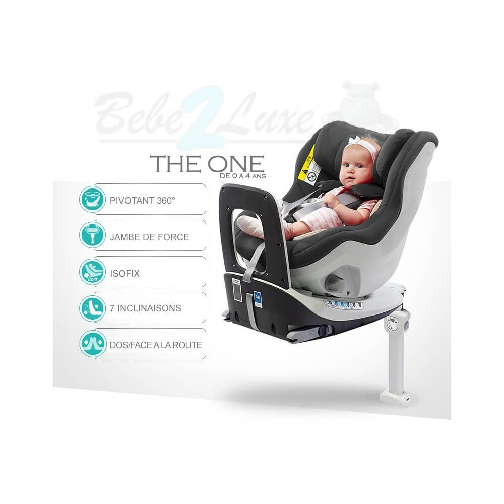 si ge auto pivotant 360 39 the one 39 gris isofix groupe 0 1 bebe2. Black Bedroom Furniture Sets. Home Design Ideas