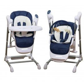 Le SPLITY 3 en 1 (bleu): Chaise Haute, Balancelle, transat, toutes options (MP3, chargeur..) BEBE2LUXE Chaise haute